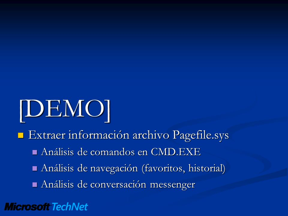 [DEMO] Extraer información archivo Pagefile.sys